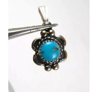 Vintage Silver Turquoise Southwestern Pendant